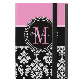 Pink, Black Damask Your Initial, Your Name Cover For iPad Mini