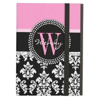 Pink, Black Damask Your Initial, Your Name iPad Air Cover
