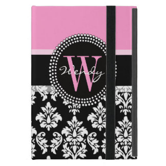 Pink, Black Damask Your Initial, Your Name iPad Mini Cover