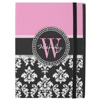 "Pink, Black Damask Your Initial, Your Name iPad Pro 12.9"" Case"