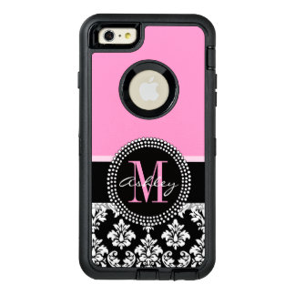 PINK, BLACK DAMASK, YOUR MONOGRAM ,YOUR NAME OtterBox DEFENDER iPhone CASE