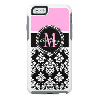 PINK, BLACK DAMASK, YOUR MONOGRAM ,YOUR NAME OtterBox iPhone 6/6S CASE