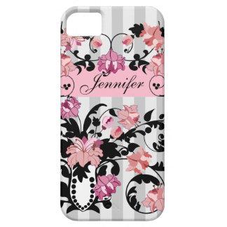 Pink & Black Damasks with Name on soft Stripes iPhone 5 Case