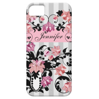 Pink & Black Damasks with Name on soft Stripes iPhone 5 Covers