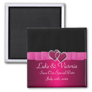 Pink & Black Diamond Locking Hearts Wedding Square Magnet