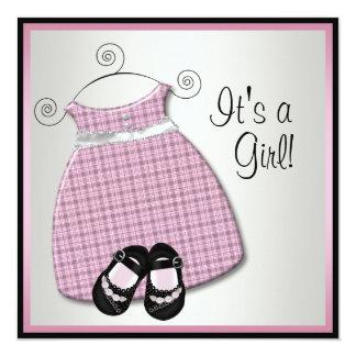 Pink Black Dress Shoes Pink Black Baby Girl Shower Custom Invites