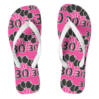 PINK BLACK Festive 30th Birthday Flip Flops