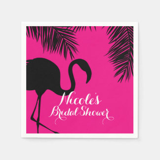 Pink & Black Flamingo & Palm Birthday Party Custom Disposable Napkins