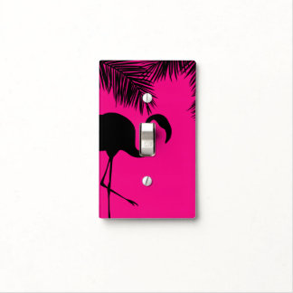 Pink & Black Flamingo & Palm Tree Tropical Chic Light Switch Cover