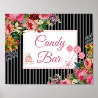 Pink & Black Floral Candy Bar Wedding Sign Poster