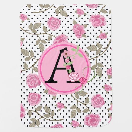 Pink/Black Floral Monogram BABY BLANKET