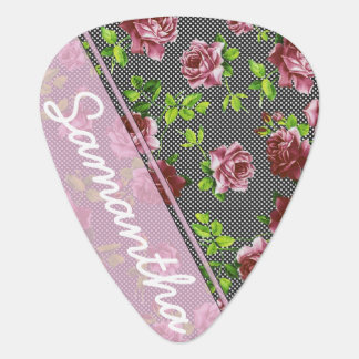 Pink & Black Floral Monogram Guitar Pick