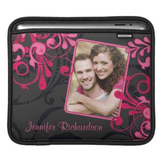 Pink Black Floral Photo Template Rickshaw Sleeve Sleeve For iPads
