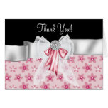 Pink Black Flowers Bow Thank You Cards