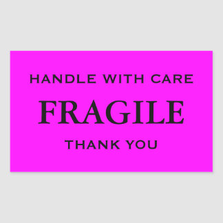Pink/Black Fragile. Handle with Care. Thank you. Sticker