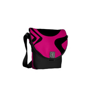Pink Black Funky Pattern 4Alissa Messenger Bag