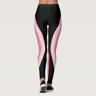 Pink Black Geometric Design | Minimalist Leggings