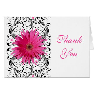Pink Black Gerbera Daisy Floral Wedding Thank You Card
