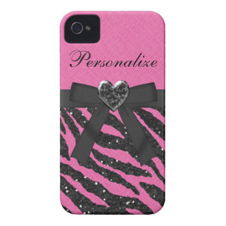 Pink & Black Glitter Zebra Print iPhone 4 Case