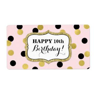 Pink Black Gold Confetti Birthday Labels