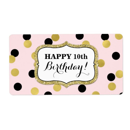 Pink Black Gold Confetti Birthday Labels