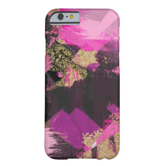 Pink Black Gold Glitter Modern Brush Glam Grunge Barely There iPhone 6 Case