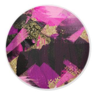 Pink Black Gold Glitter Modern Brush Glam Grunge Ceramic Knob