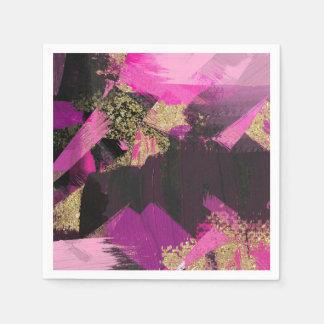Pink Black Gold Glitter Modern Brush Glam Grunge Paper Napkin