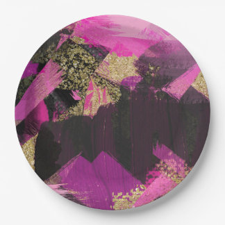 Pink Black Gold Glitter Modern Brush Glam Grunge Paper Plate