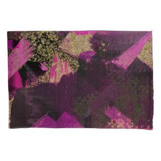 Pink Black Gold Glitter Modern Brush Glam Grunge Pillowcase