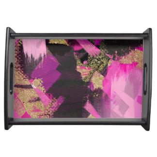 Pink Black Gold Glitter Modern Brush Glam Grunge Serving Tray