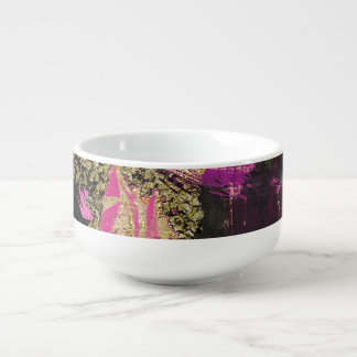 Pink Black Gold Glitter Modern Brush Glam Grunge Soup Mug