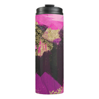 Pink Black Gold Glitter Modern Brush Glam Grunge Thermal Tumbler