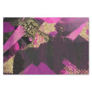 Pink Black Gold Glitter Modern Brush Glam Grunge Tissue Paper