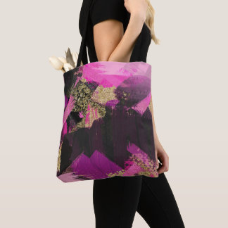 Pink Black Gold Glitter Modern Brush Glam Grunge Tote Bag