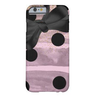 Pink & Black Gold Polka Dots Chic Bow Trendy Glam Barely There iPhone 6 Case