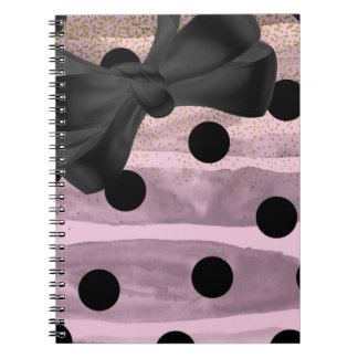 Pink & Black Gold Polka Dots Chic Bow Trendy Glam Spiral Notebook