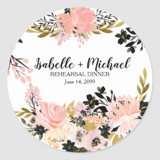 Pink, Black, Gold Rehearsal Dinner Personalized Classic Round Sticker