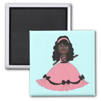 Pink & Black Gown Princess 3 Square Magnet