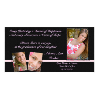 Pink & Black Graduation Annoucment & Invitation