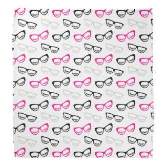 Pink, Black & Gray Glasses & Lashes Bandana