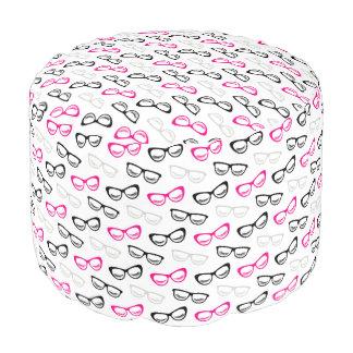 Pink, Black & Gray Glasses & Lashes Pouf