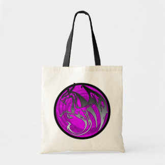 Pink black grunge wing dragon circle tote bag