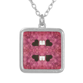 Pink Black Heart Abstract Square Pendant Necklace