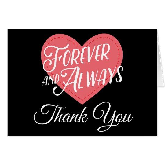 Pink & Black Heart Thank You Wedding Bridal Shower Card