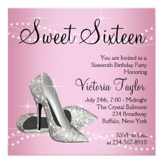 Pink Black High Heels Sweet 16 Party Card
