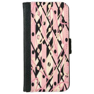 "Pink & Black iPhone 6 Wallet Case ""Jazz"""