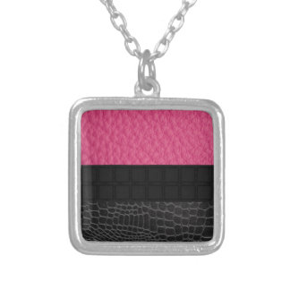Pink Black Leather Square Pendant Necklace