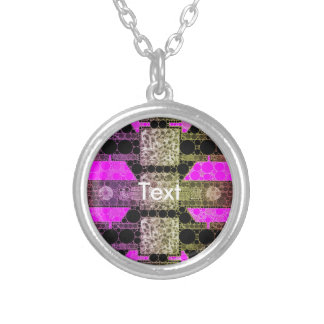 Pink Black Leopard Abstract Round Pendant Necklace
