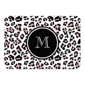 "Pink Black Leopard Animal Print with Monogram 3.5"" X 5"" Invitation Card"